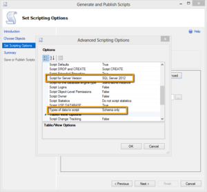 Screenshot: Advanced options in Generate Scripts